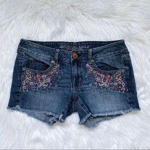 AEO Embroidered Denim Shorts
